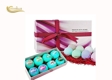 Colourful Beautiful Epsom Salt Bath Bombs , Bubble Baths Bombs Dengan Shrinking Wrapped pemasok